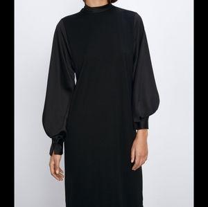 NWT Zara Contrasting Satin Dress Black
